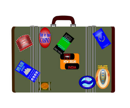 travellers luggage with exotic destination tags Stock Photo