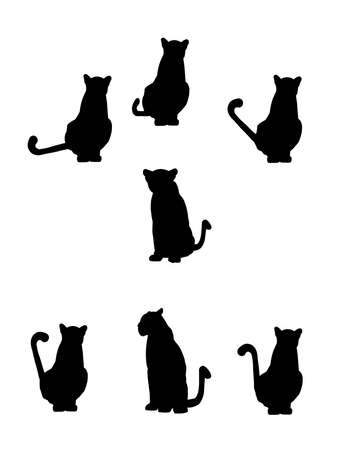 cats playing: cat silhouettes with tails in various positions