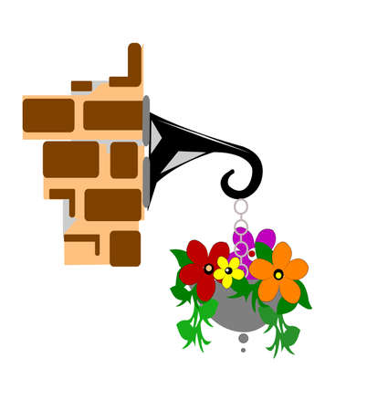 brick and mortar: flowers hanging from wall Illustration