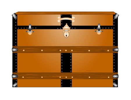 vintage steamer trunk  向量圖像