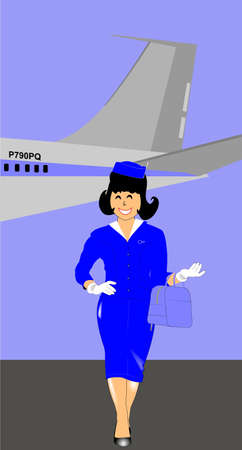 exciting: hostess walking away from plane concept Illustration