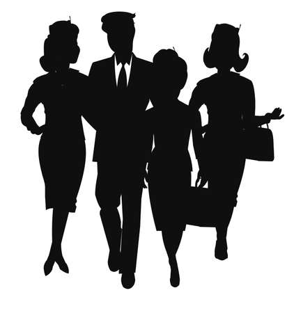 stewardess: aviation team in silhouette Illustration