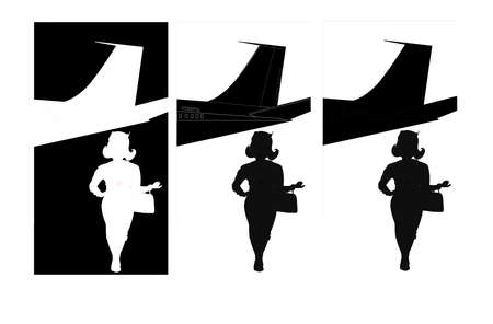 hostess walking away from plane in multiple silhouettes Stock Vector - 21220771