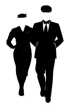 era: pilot with hostess in silhouette Illustration