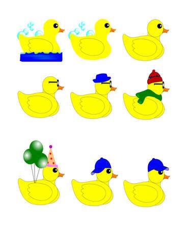 rubber ducks set in various styles Illustration