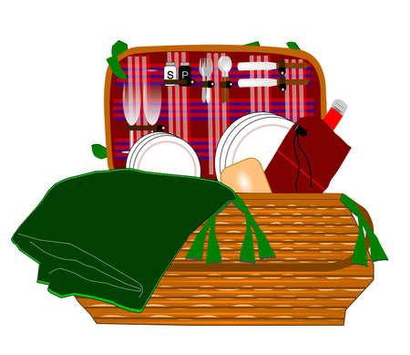 complete wicker picnic basket  Vector