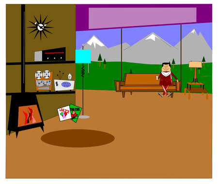 outdoor fireplace: retro interior with man sitting in chair  Illustration