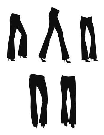 ベルボトムのジーンズをシルエットに設定します。  イラスト・ベクター素材
