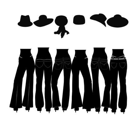 dames in jeans silhouet