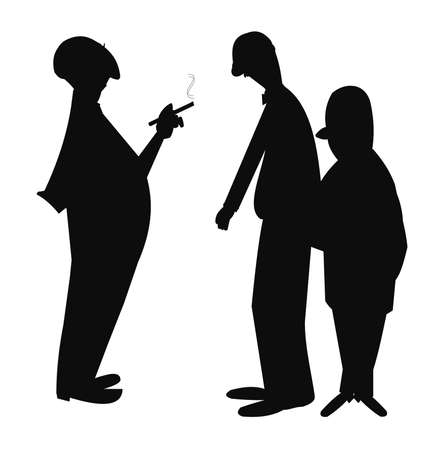 3 men chatting in silhouette Vector