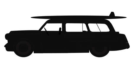 woody: station wagon in silhouette