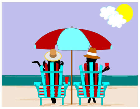 adirondack chair: people on the beach relaxing
