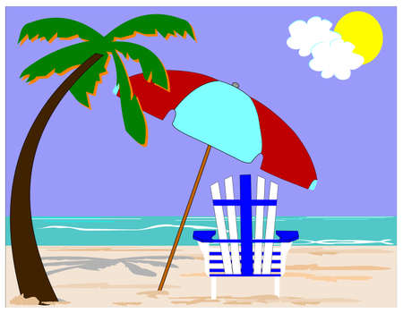 adirondack chair: beach concept with palms