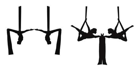poise: aerial silk dancers in silhouette Illustration