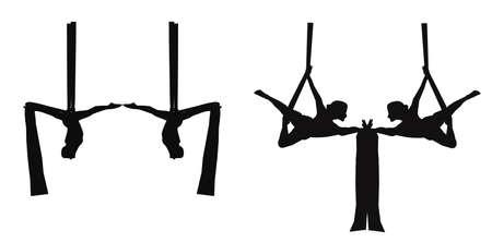 poise: bailarines de seda a�reas en silueta Vectores