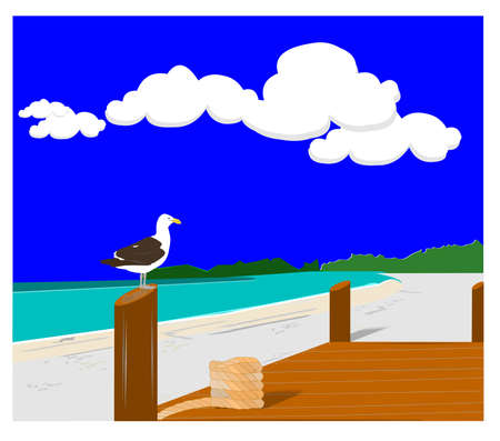 secluded: seagull standing on post of dock in the bay concept