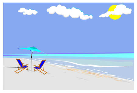 secluded: beach with canvas chairs and umbrella vacation concept  Illustration