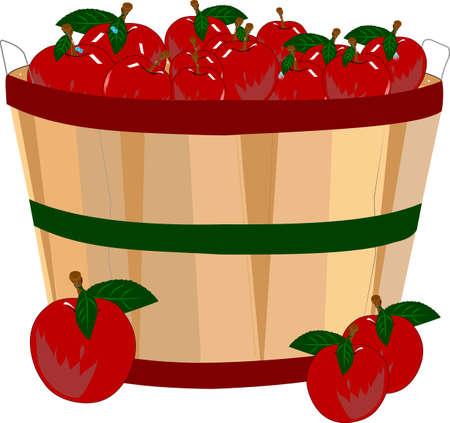 bushel appelen in de mand met waterdruppeltjes