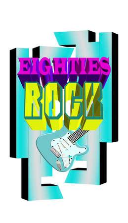 eighties rock in 3d background  Vector