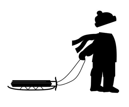 boy pulling a sled in winter silhouette
