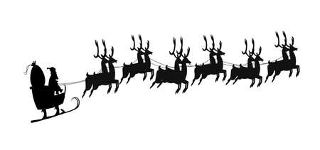 reins: santas sleigh in silhouette template