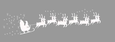 reins: santas sled with 12 reindeer in white over gray background