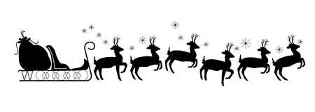 reins: santas sled with reindeer in silhouette