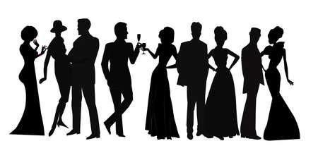 office party: reuni�n social en la silueta Vectores