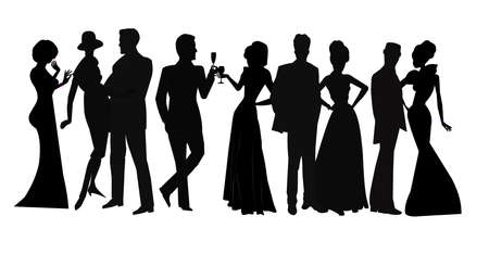 elegant lady: social gathering in silhouette