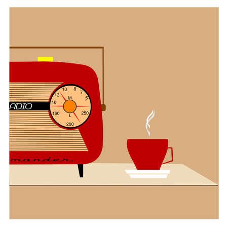 retro radio begrip Stock Illustratie