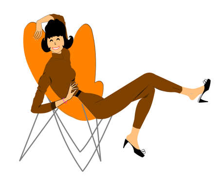 retro lady relaxing in fifties wire sling chair  일러스트