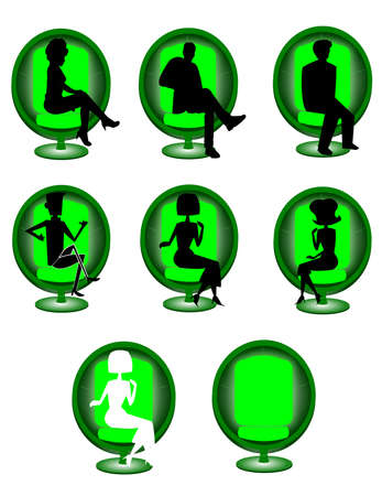 round tub retro chair with silhouettes Stock Vector - 22552204