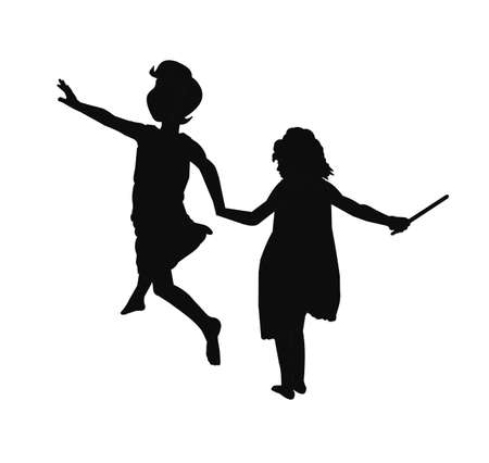 secluded: girls in silhouette playing Illustration