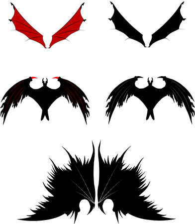 dragon and fantasy creature wings  Vector