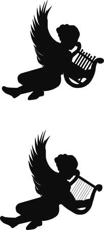 adult cupids with harps in silhouette Vector