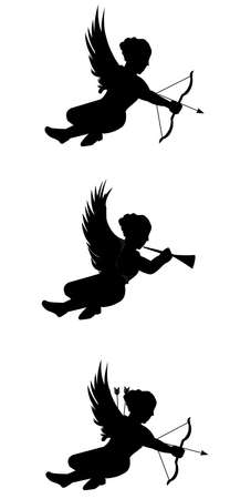 adult cupids in silhouette Vector
