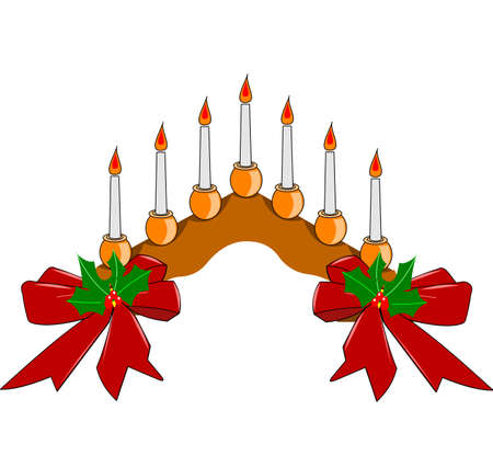 fireplace christmas: candles on arch in color for holiday decorations