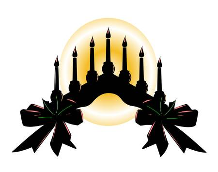 holiday setting of candles on arch  silhouette with high lights