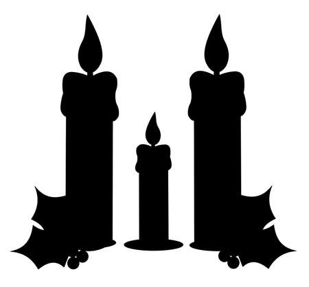 trio of candle in silhouette for holidays  Vector