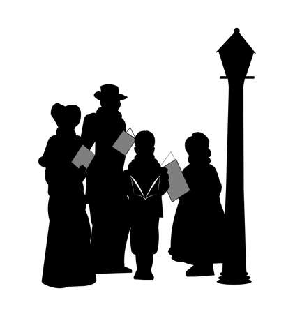 family of christmas carolers in silhouette Vector