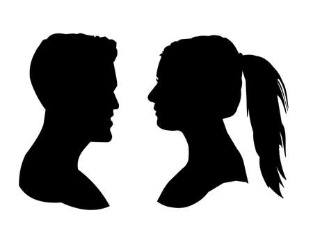 black lady talking: male and female head silhouettes