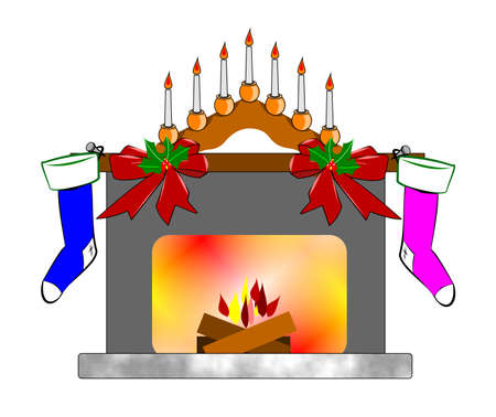 christmas fireplace with logs burning  Vector