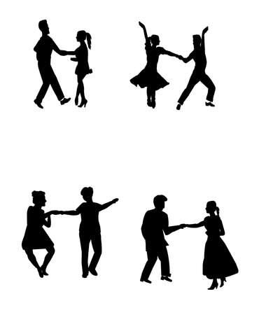 all star retro dancers in silhouette Vector