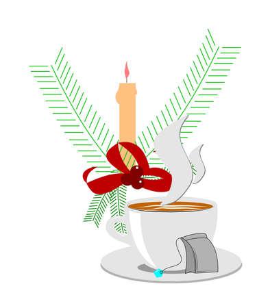 sip: tea time during holidays concept Illustration