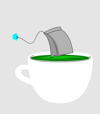 white tea: tea time  Illustration