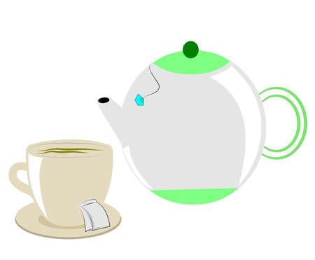 sip: punto de la hora del t� con tetera y la taza