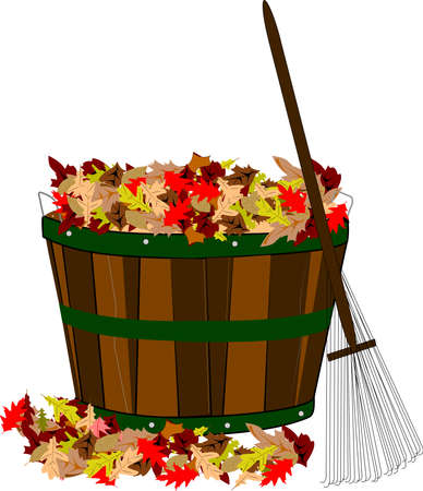 autumn leaves falling: pile of leaves in wooden basket with rake