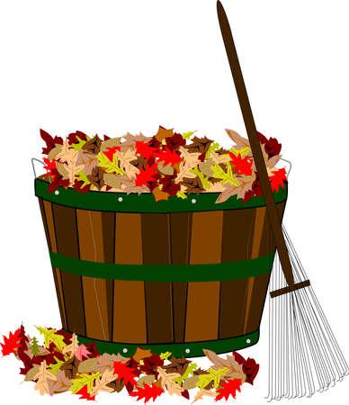 stapel bladeren in houten mand met hark