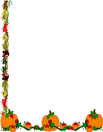 pumpkin patch border  Vector
