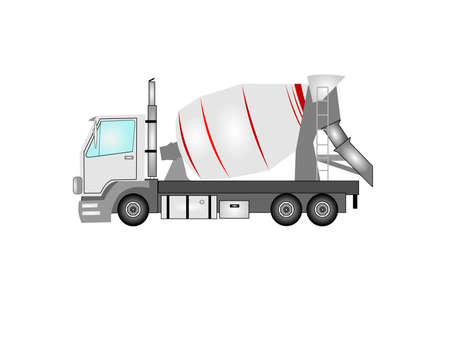 cement truck in detail Vector